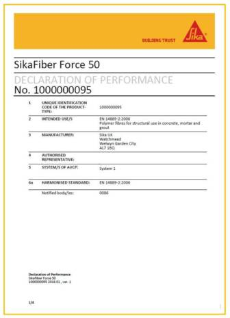 CE Compliance - Synthetic Fibres for Concrete - Sika Concrete